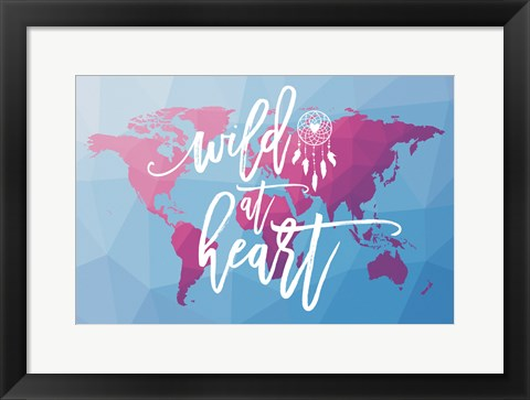 Framed Geo Map Boho I Print