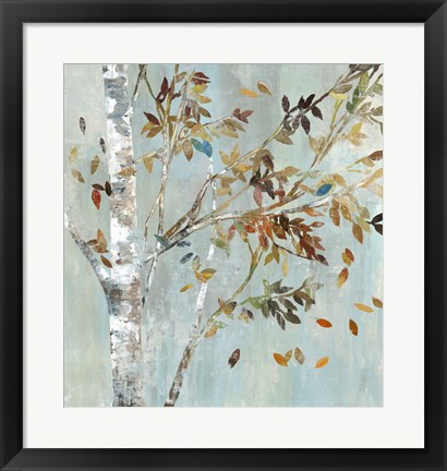 Framed Birch with Leaves I Print