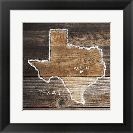 Framed Texas Rustic Map Print