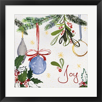 Framed Watercolor Christmas I Print