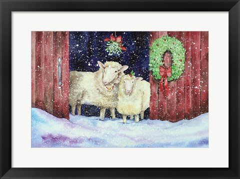 Framed Christmas Sheep Print