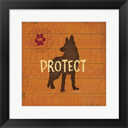 Framed Protect Dog Print
