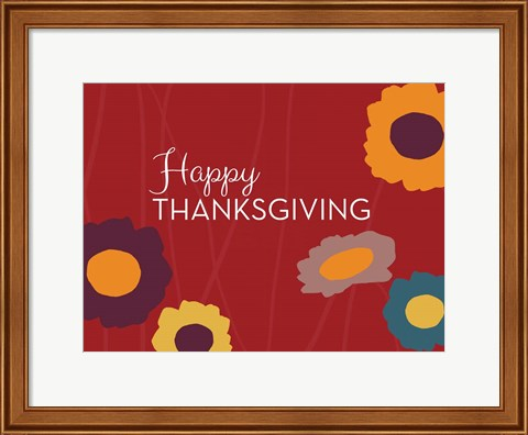 Framed Multicolor Happy Thanksgiving Print