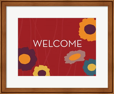 Framed Multicolor Welcome on Red Print