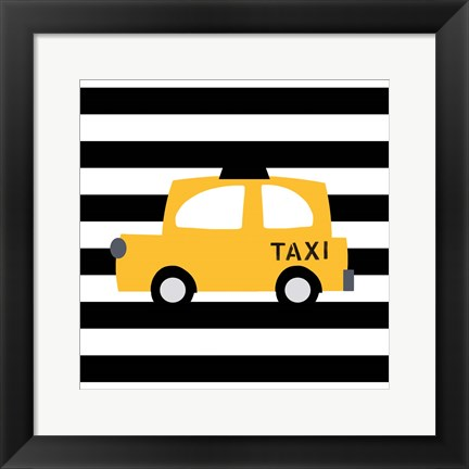 Framed Bright Yellow Taxi Print