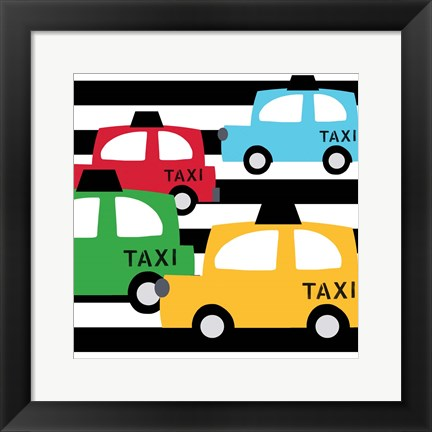 Framed Bright Multi Taxis Print