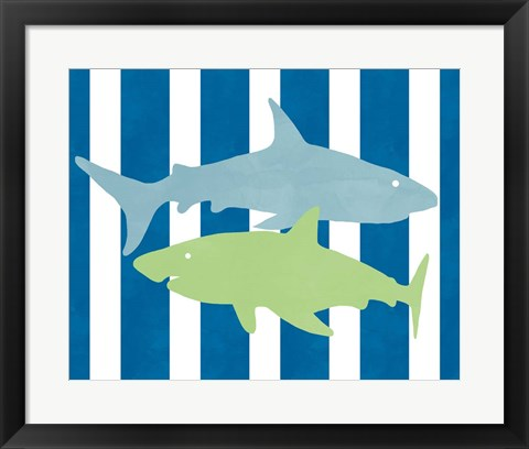 Framed Blue and Green Shark III Print