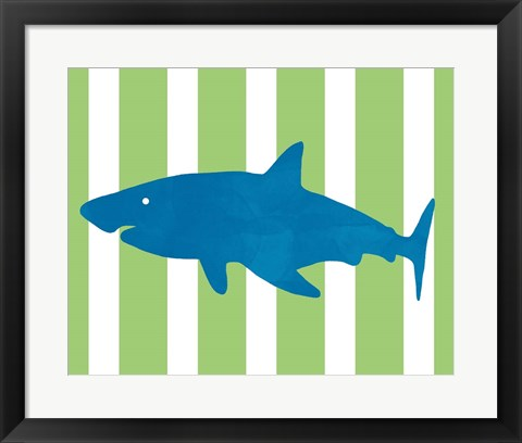 Framed Blue and Green Shark II Print