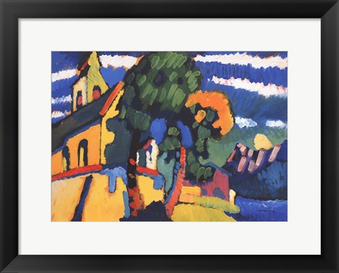 Framed Village Church in Riegsee, Bavaria, 1907 Print
