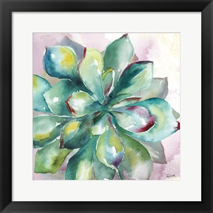 Framed Succulent Watercolor I Print