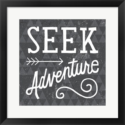 Framed Mod Triangles Seek Adventure Print