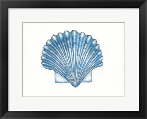 Framed Navy Scallop Shell Print