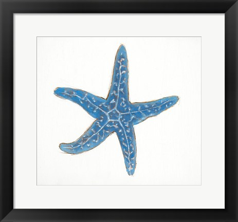 Framed Navy Starfish Print