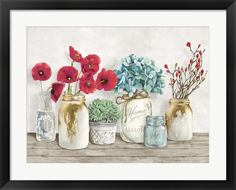 Framed Floral Composition with Mason Jars Print