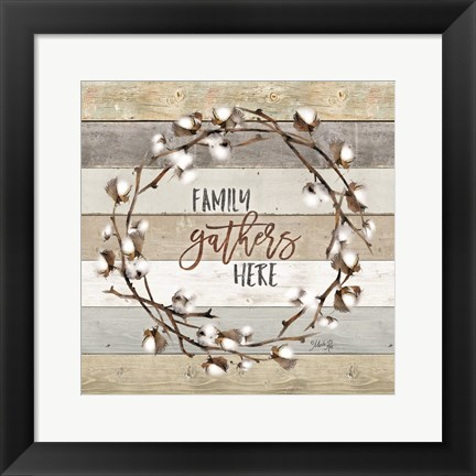 Framed Family Gathers Here Cotton Wreath Print