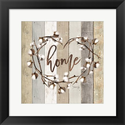 Framed Home Cotton Wreath Print