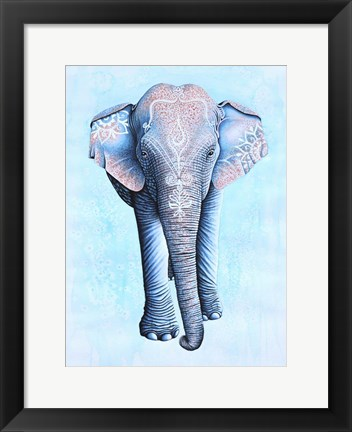 Framed Painted Asian Elephant Print