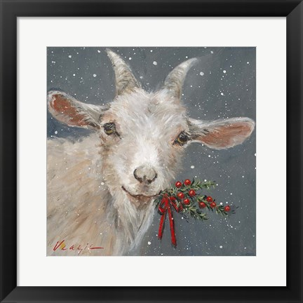 Framed Goat with Holly Print