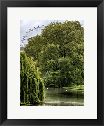 Framed View of St James's Park Lake and the Millennium Wheel - London Print