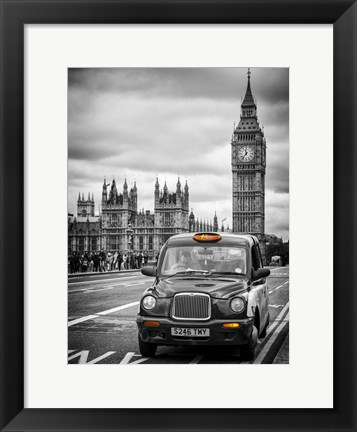 Framed London Taxi and Big Ben - London Print