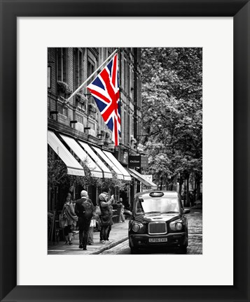 Framed London Taxi and English Flag Print