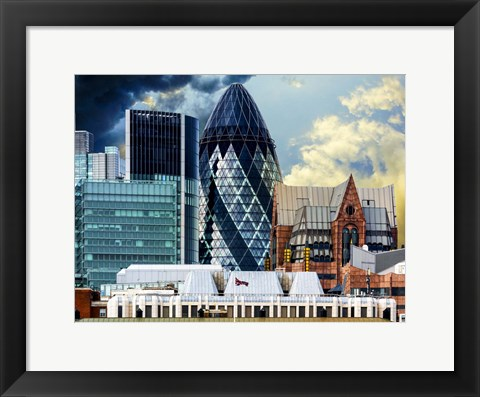 Framed Custom House of Royal Victoria Dock and the Gherkin Print