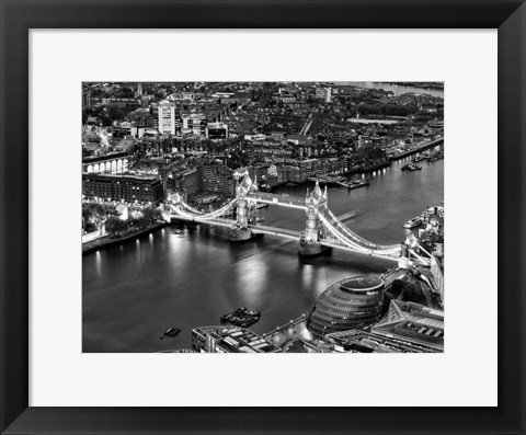 Framed View of City of London with the Tower Bridge at Night Print