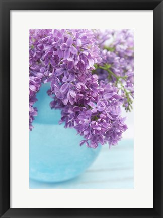 Framed Lilacs in Blue Vase IV Print