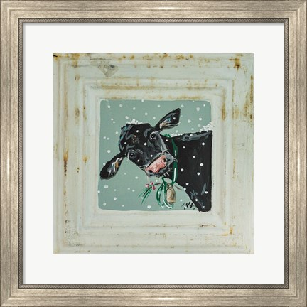 Framed Cow with Bells Print