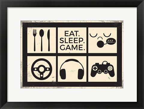 Framed Eat Sleep Game Print