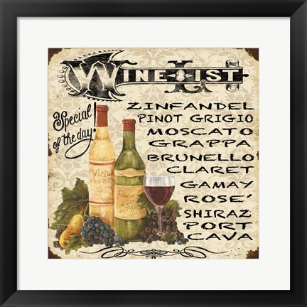 Framed Wine List Vintage Print