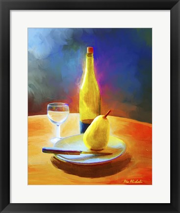 Framed Wine And Pear Print