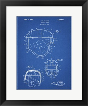 Framed Blueprint Football Helmet 1925 Patent Print