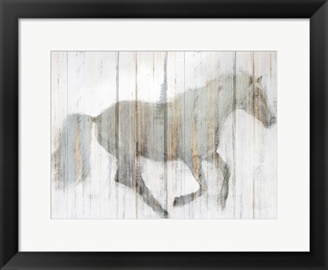 Framed Whitewash Horse Print