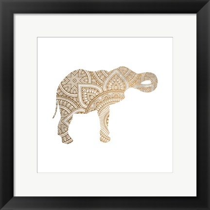 Framed Elephant Gold 2 Print