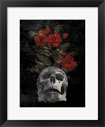 Framed Skull Red Flowers Print
