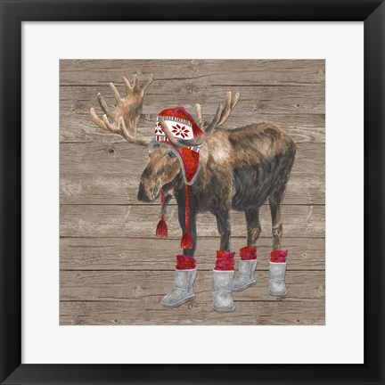 Framed Warm in the Wilderness Moose Print