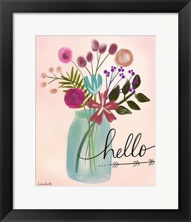 Framed Hello Floral Bouquet Print