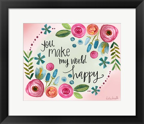 Framed Make My World Happy Print