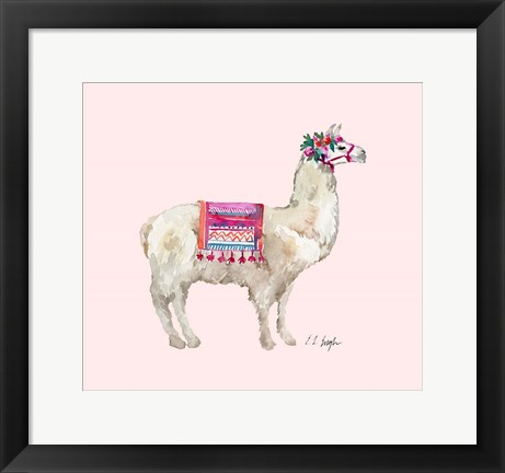 Framed Peruvian Llama - Pink Background Print