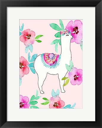 Framed Llama and Flowers Print