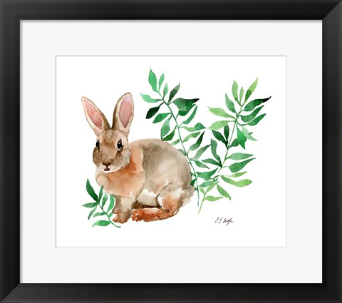Framed Brown Bunny with Green leaves Print