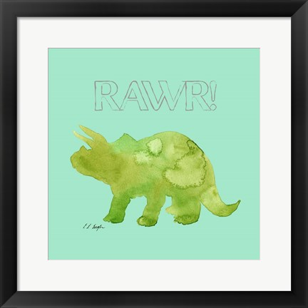 Framed Green Triceratops Print