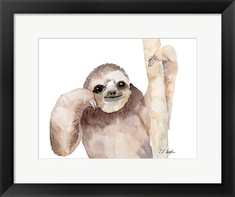 Framed Big Brown Sloth Print