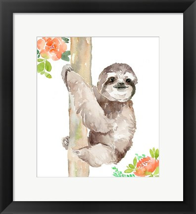 Framed Tropical Sloth with Peach Flowers Print