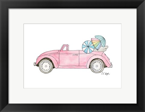 Framed Pink Car with Umbrellas Print