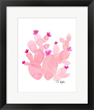 Framed Pink Prickly Pear Cactus Print
