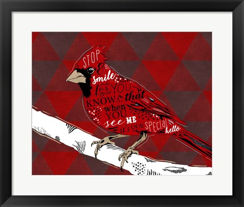 Framed Cardinal Hello Red Print