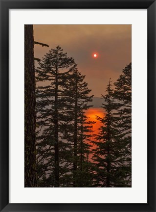 Framed Smokey Sunset - Crater Lake Print