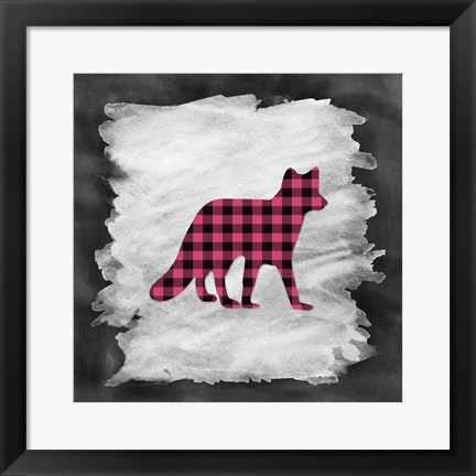 Framed Pink Plaid Fox Print